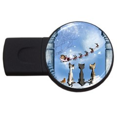 Christmas, Cute Cats Looking In The Sky To Santa Claus Usb Flash Drive Round (4 Gb) by FantasyWorld7