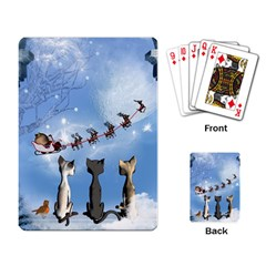 Christmas, Cute Cats Looking In The Sky To Santa Claus Playing Card by FantasyWorld7