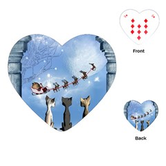 Christmas, Cute Cats Looking In The Sky To Santa Claus Playing Cards (heart)  by FantasyWorld7