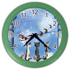 Christmas, Cute Cats Looking In The Sky To Santa Claus Color Wall Clocks by FantasyWorld7