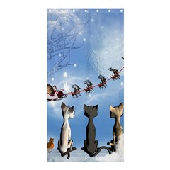 Christmas, Cute Cats Looking In The Sky To Santa Claus Shower Curtain 36  X 72  (stall)  by FantasyWorld7