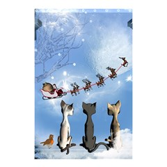 Christmas, Cute Cats Looking In The Sky To Santa Claus Shower Curtain 48  X 72  (small)  by FantasyWorld7