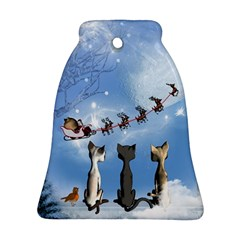 Christmas, Cute Cats Looking In The Sky To Santa Claus Bell Ornament (two Sides) by FantasyWorld7