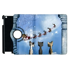 Christmas, Cute Cats Looking In The Sky To Santa Claus Apple Ipad 2 Flip 360 Case by FantasyWorld7