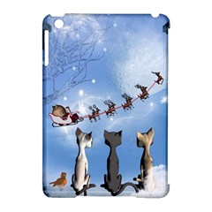 Christmas, Cute Cats Looking In The Sky To Santa Claus Apple Ipad Mini Hardshell Case (compatible With Smart Cover) by FantasyWorld7