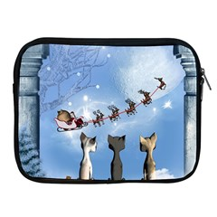 Christmas, Cute Cats Looking In The Sky To Santa Claus Apple Ipad 2/3/4 Zipper Cases by FantasyWorld7