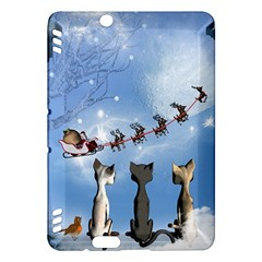 Christmas, Cute Cats Looking In The Sky To Santa Claus Kindle Fire Hdx Hardshell Case by FantasyWorld7
