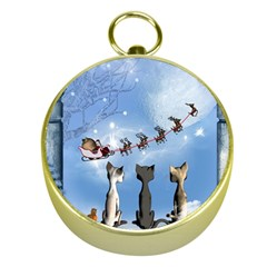 Christmas, Cute Cats Looking In The Sky To Santa Claus Gold Compasses by FantasyWorld7