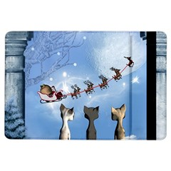 Christmas, Cute Cats Looking In The Sky To Santa Claus Ipad Air Flip by FantasyWorld7