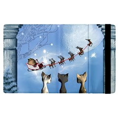 Christmas, Cute Cats Looking In The Sky To Santa Claus Apple Ipad Pro 9 7   Flip Case by FantasyWorld7