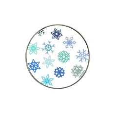 Snowflakes Blue Green Star Hat Clip Ball Marker (10 Pack) by Mariart