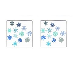 Snowflakes Blue Green Star Cufflinks (square) by Mariart