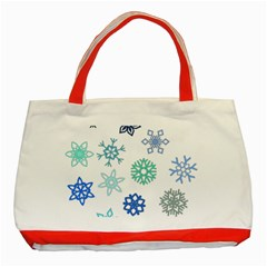 Snowflakes Blue Green Star Classic Tote Bag (red) by Mariart