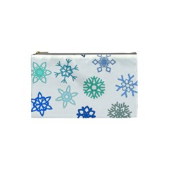Snowflakes Blue Green Star Cosmetic Bag (small)  by Mariart