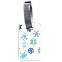 Snowflakes Blue Green Star Luggage Tags (two Sides) by Mariart