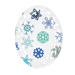 Snowflakes Blue Green Star Oval Filigree Ornament (two Sides)