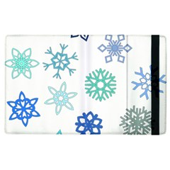 Snowflakes Blue Green Star Apple Ipad 3/4 Flip Case by Mariart