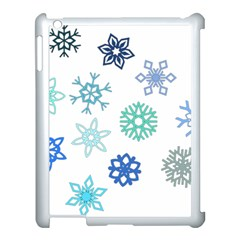 Snowflakes Blue Green Star Apple Ipad 3/4 Case (white) by Mariart