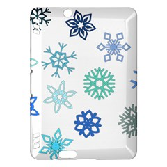 Snowflakes Blue Green Star Kindle Fire Hdx Hardshell Case by Mariart