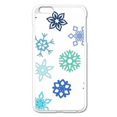 Snowflakes Blue Green Star Apple Iphone 6 Plus/6s Plus Enamel White Case by Mariart