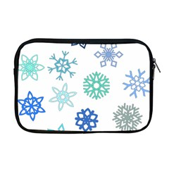 Snowflakes Blue Green Star Apple Macbook Pro 17  Zipper Case by Mariart