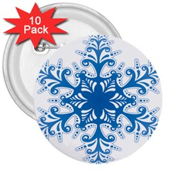 Snowflakes Blue Flower 3  Buttons (10 Pack)  by Mariart