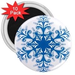 Snowflakes Blue Flower 3  Magnets (10 Pack)  by Mariart