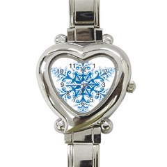 Snowflakes Blue Flower Heart Italian Charm Watch