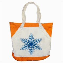 Snowflakes Blue Flower Accent Tote Bag by Mariart