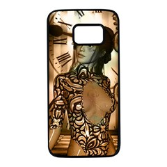 Steampunk, Steampunk Women With Clocks And Gears Samsung Galaxy S7 Black Seamless Case by FantasyWorld7