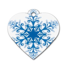 Snowflakes Blue Flower Dog Tag Heart (two Sides) by Mariart