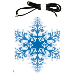 Snowflakes Blue Flower Shoulder Sling Bags by Mariart