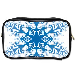 Snowflakes Blue Flower Toiletries Bags by Mariart