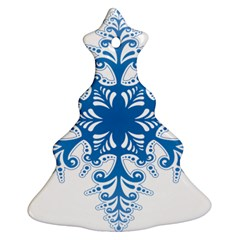 Snowflakes Blue Flower Christmas Tree Ornament (two Sides) by Mariart