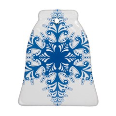 Snowflakes Blue Flower Bell Ornament (two Sides)