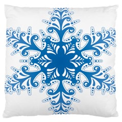 Snowflakes Blue Flower Large Cushion Case (one Side) by Mariart