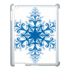 Snowflakes Blue Flower Apple Ipad 3/4 Case (white) by Mariart