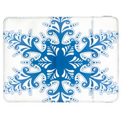 Snowflakes Blue Flower Samsung Galaxy Tab 7  P1000 Flip Case by Mariart