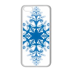 Snowflakes Blue Flower Apple Iphone 5c Seamless Case (white) by Mariart