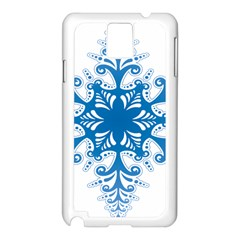 Snowflakes Blue Flower Samsung Galaxy Note 3 N9005 Case (white) by Mariart
