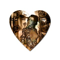 Steampunk, Steampunk Women With Clocks And Gears Heart Magnet
