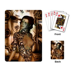 Steampunk, Steampunk Women With Clocks And Gears Playing Card by FantasyWorld7