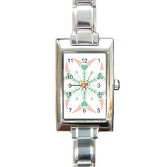 Snowflakes Heart Love Valentine Angle Pink Blue Sexy Rectangle Italian Charm Watch by Mariart