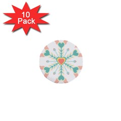 Snowflakes Heart Love Valentine Angle Pink Blue Sexy 1  Mini Buttons (10 Pack)  by Mariart