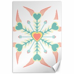 Snowflakes Heart Love Valentine Angle Pink Blue Sexy Canvas 12  X 18   by Mariart