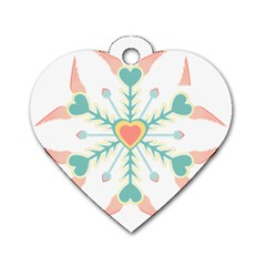 Snowflakes Heart Love Valentine Angle Pink Blue Sexy Dog Tag Heart (two Sides) by Mariart