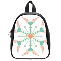 Snowflakes Heart Love Valentine Angle Pink Blue Sexy School Bag (small) by Mariart