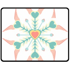Snowflakes Heart Love Valentine Angle Pink Blue Sexy Fleece Blanket (medium)  by Mariart