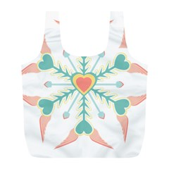 Snowflakes Heart Love Valentine Angle Pink Blue Sexy Full Print Recycle Bags (l)  by Mariart