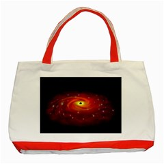 Space Galaxy Black Sun Classic Tote Bag (red) by Mariart